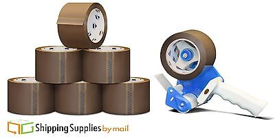 24 Rolls Brown 3 X 1.8 Mil X 55 Yds Packaging Packing Tape Free 3 Dispenser