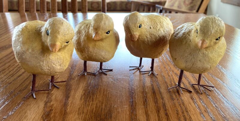 "Yellow Paper Mache Baby Chicks Figure Easter Decor 3.5"" Set of 4 Metal Legs"