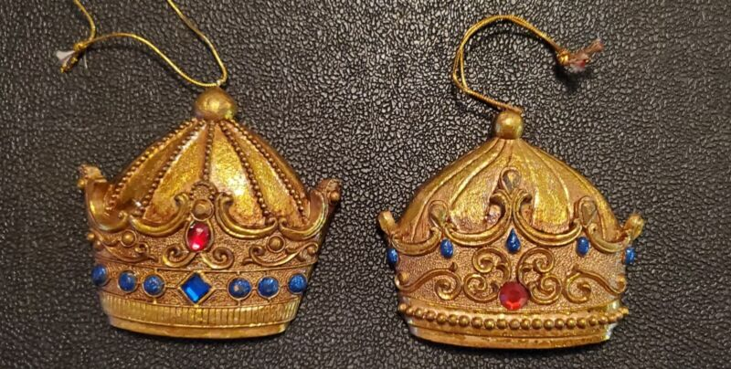2 - Resin/Plaster King Crown Christmas Tree Ornaments.