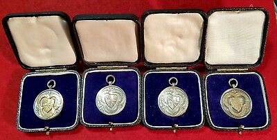 FOUR VINTAGE SWIMMING SILVER MEDALS  AR McPHERSON 1931-1936 IN ORIGINAL CASES