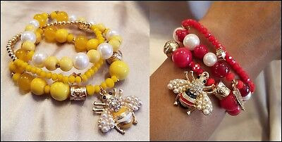 YELLOW or RED 3 PIECE BEE CHARM BEAD PEARL STRETCH GOLD BRACELET SET NEW 3 Piece Bee Set