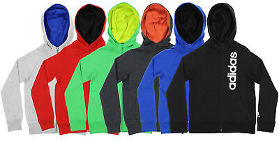 Adidas Youth Full Zip Solid Embroidered Hoodie, Color Options (Youth Full Zip Hoodie)