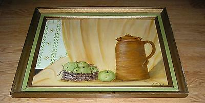 VINTAGE NEWTOWN PIPPIN HEIRLOOM APPLES FRUIT CIDER CROCK FOLK ART OIL PAINTING