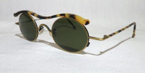 NEW 90s Vintage L.A. eyeworks Banjo sunglasses round lens, Antq gold modern punk