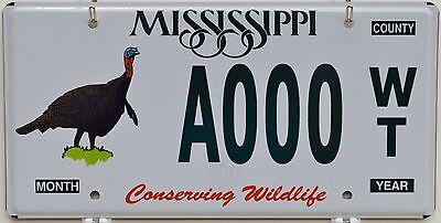 Mississippi Conserving Wildlife WILD TURKEY Sample License Plate  ++ MS HTF