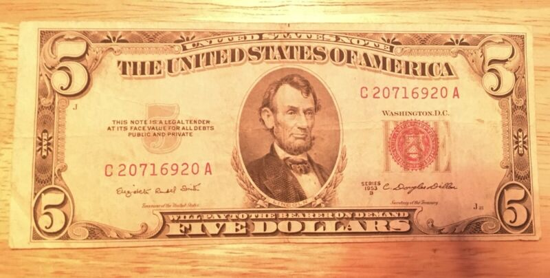 1953 A $5 DOLLAR BILL RED SEAL BANK NOTE OLD PAPER MONEY SILVER CERTIFICATE