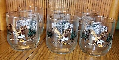 6 Vintage Old Fashioned Glasses with Eagles /with Info About Bald Eagles in USA