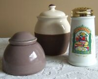 PARMESSAN CHEESE SHAKER, SUGAR BOWL, AND HONEY HOLDER