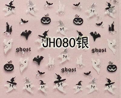 Halloween Schwarz Fledermaus Kürbis Weiß Ghost Silbern Stecker 3D Nail Art