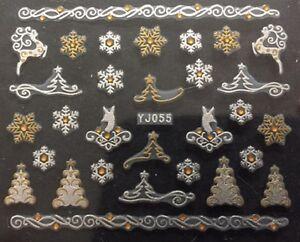 Accessoire-ongles-nail-art-Stickers-noel-sapins-et-etoiles-blanc-et-dore