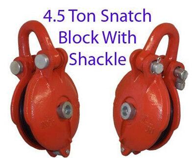 4.5 Ton Bail Snatch Block Hoist Rig Shackle 5 Pulley