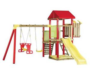 NEW Swing Slide Climb Camelot Cubby House Play Set Outdoor Timber Sylvania Sutherland Area Preview
