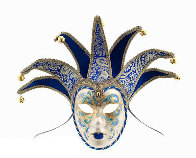 Mask from Venice Volto Jolly Blue And Golden 7 Spikes For Masquerade Ball 919 V6