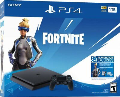 NEW Sony PlayStation PS4 1TB Fortnite Neo Versa Gaming Console Bundle Jet Black