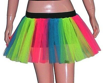 Plus Adult Size Stripe Multi Tutu Tulle Skirt Dance Neon Emo Halloween Christmas ()
