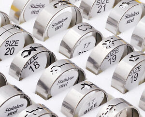 Wholesale bulk lots ebay 60pcs fashion silver stainless steel rings wholesale bulk lots mens jewelry us mozeypictures