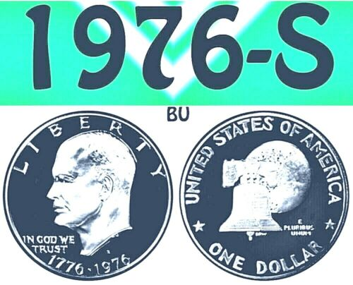 1976-S EISENHOWER BRIGHT CLEAR UNCIRCULATED PROOF DOLLAR===BU===PROOF===T-2=====