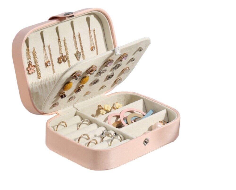Portable Jewelry Box Organizer Leather Jewelry Ornaments Case Travel Storage US Jewelry & Watches