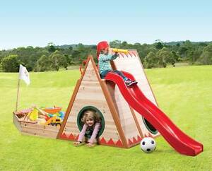 Cubby House with Pirate Sandpit, Slide and Rock Climbing Mill Park Whittlesea Area Preview