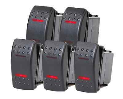 5 Pcs Marine Boat Trailer Rocker Switch On-off-on Spdt 4 Pin 2 Red Led Rv