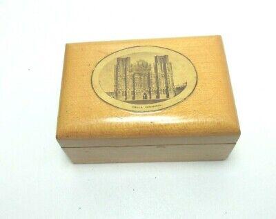 ANTIQUE MAUCHLINE WOODEN TRINKET BOX WELLS CATHEDRAL SOMERSET