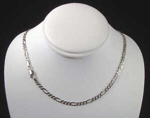 14K Solid White Gold Figaro Chain Necklace 3.2mm 20