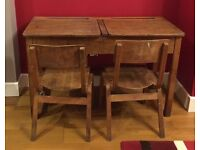 Vintage school desk & chairs