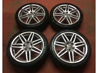 "18"" GENUINE AUDI A3 SPORT S LINE RS4 BLACK EDITION ALLOY WHEELS TYRES NEW MODEL 5X112"