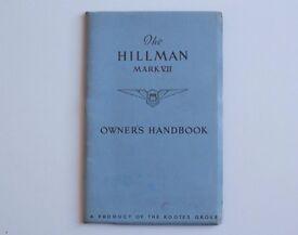 The Hillman Mark VII Owner's Handbook