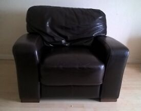 Leather Sofa -Chocolate Brown (excellent condition)