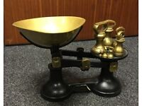 Set of Vintage Brass Kitchen Scales with Seven Weights