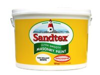 half full 10 litre bucket sandtex fine textured white exterior paint. painted house-only needed half