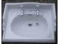 """Ceramic Sink """"Imperial bathroom Company""""Oblong Classic Ornate Incl. Chrome Taps & Pipework Fittings"""