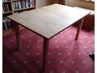 IKEA BJORNA Solid Light Oak 6 - 8 Seater Extending Dining Table Fold Out Leaf