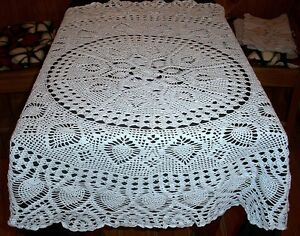 Vintage Powder or Pale Blue Hand Crochet Pineapple Design Tablecloth