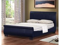 """Stylish Sleigh Design Leather 4FT 6"""" Double Bed Frame Bedroom Furniture"""