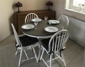 Lovely taupe and white table and chairs