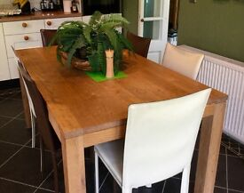 Dining table Solid oak table 90x160 and 6 leather chairs