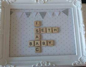Personalised scrabble art with picture frame