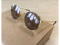 Mens RAY-BAN Arista round sunglasses brown gold frame glasses coloured lenses rayban wayfarer