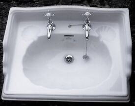 White Ceramic Sink Imperial bathroom Company Oblong Classic Ornate Plus Chrome Taps/Pipe Fittings