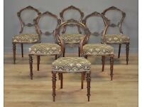 Set Of 6 Six Antique Victorian Carved Mahogany Balloon Back Dining Chairs