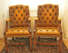 Pair of vintage CHESTERFIELD Golden / Tan LEATHER EXECUTIVE Armchairs / Chairs Open To Offers