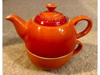 Le Creuset Tea for One Tea Cup & Pot - Classic Volcanic Orange Rare, Stoneware