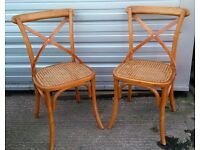 NEW Very Stylish Pair of Bentwood Chairs with Cane Seat