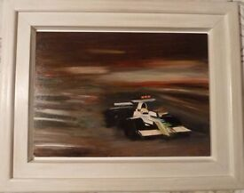 OIL PAINTING OF MOTOR SPORT F1 (original, framed and signed by the artist- Hadrian Richards)