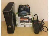 Xbox 360 slimline 320gb with 10 games!