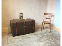 Vintage Slatted Travelling Trunk / Storage Chest / Blanket Box