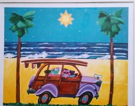 Limited Edition Mounted Painting Print. Surf Safari. With Certification. By Bob Bonn
