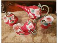 Franz porcelain island beauty hibiscus teaset